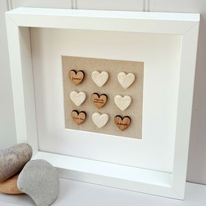 Wood Anniversary Love Hearts Artwork - textile art
