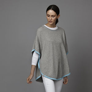 Cotton Cashmere Poncho With Edge Stripe - gifts for her