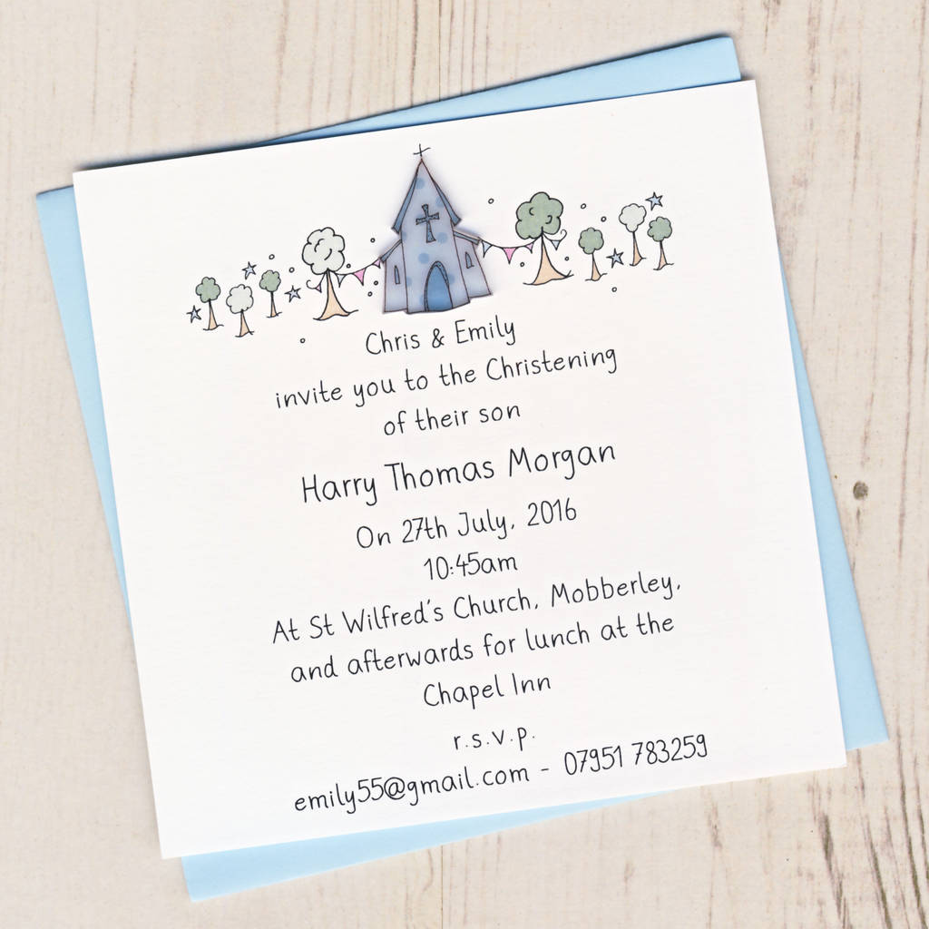 Pack Of Personalised Christening Invitation Cards By Eggbert Daisy