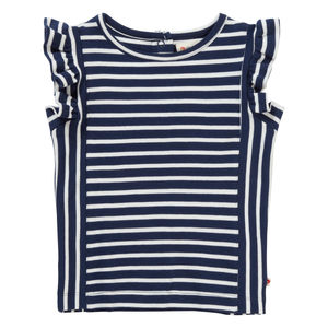 Blue Stripe Ruffle Vest Top - clothing