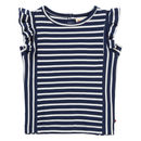 Blue Stripe Ruffle Vest Top