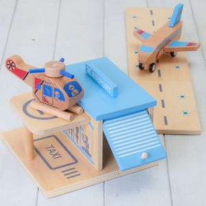 Wooden Construction Toy Airport Playset - play scenes & sets