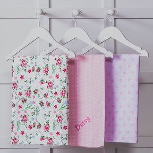 Personalised Three Pack Pink Muslin Squares