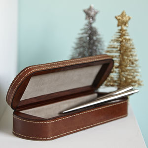 Personalised Leather Pen Box - for him