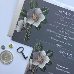 Winter Hellebore Wedding Invitations - wedding stationery