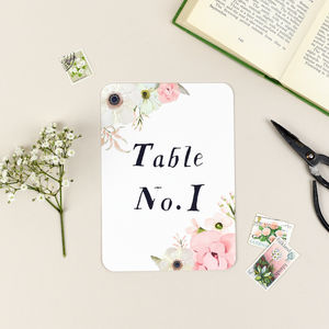 Blush Floral Wedding Table Number