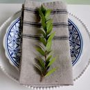 Set Of Four Blue Striped Linen Napkins