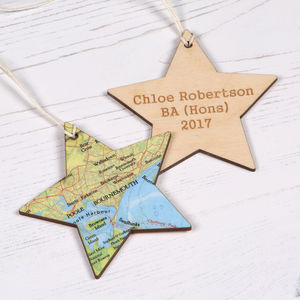 Personalised Map Location Star Graduation Keepsake Gift - decorative accessories