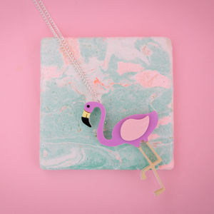 Acrylic Flamingo Necklace Or Brooch