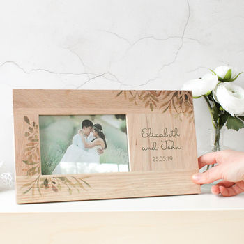 Personalised Oak Photo Frame, Botanical Wedding
