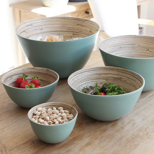Duck Egg Coiled Bamboo Serving Bowls Set - dining room