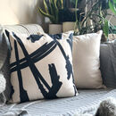 Modern Splatter Black And White Cushion
