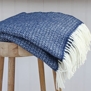 Slate Blue And Cream Wool Throw