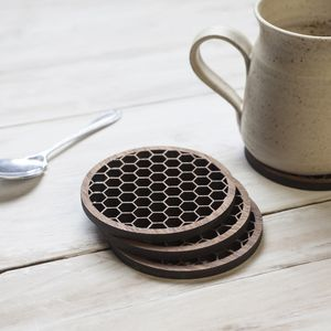 Honeycomb Geometric Walnut Coasters