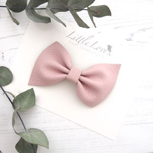 Little Love Leather Bow Hair Clip/ Peony