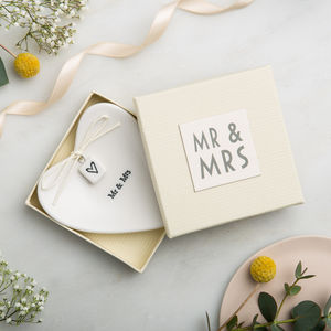 'Mr And Mrs' Ceramic Ring Dish - mr & mrs