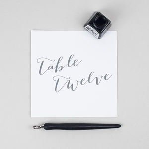 Elegant Calligraphy Table Number Cards Pack