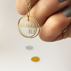 Mama Elf Gold Hoop Necklace
