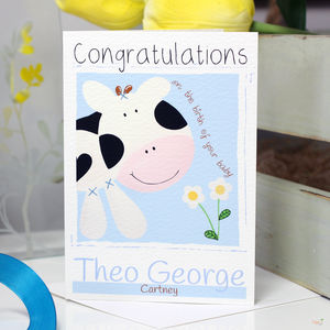 Personalised Farm Cow New Baby Gift Card