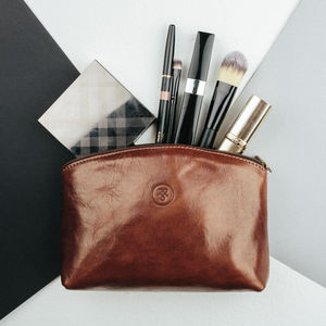 Handcrafted Leather Cosmetic Makeup Bag 'Chia' - top makeup bags