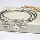 silver hope wish dream mantra stacking bangles