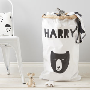Personalised Little Bear Toy Sack - laundry room