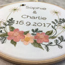 Hand Embroidered Personalised Flowers And Bee Hoop