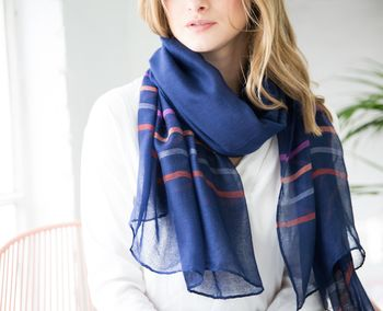 Personalised Navy Scarf With Colourful Stripes
