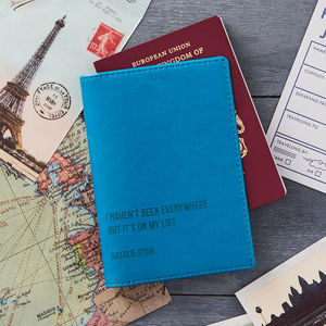 Personalised Travel Quote Passport Cover/Holder