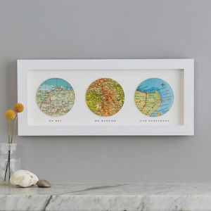 Three Map Circle Personalised Wedding Anniversary Print - mixed media & collage