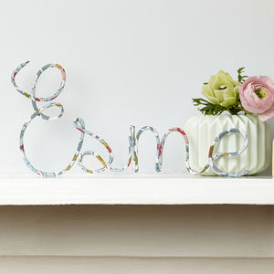 Personalised Sign Liberty Betsy Pastel Fabric And Wire - for under 5's