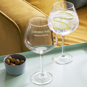 Personalised 'Parenting Life' Goblet Glass - new in home