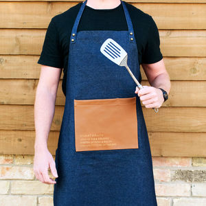Denim Faux Leather Personalised Artisan Apron