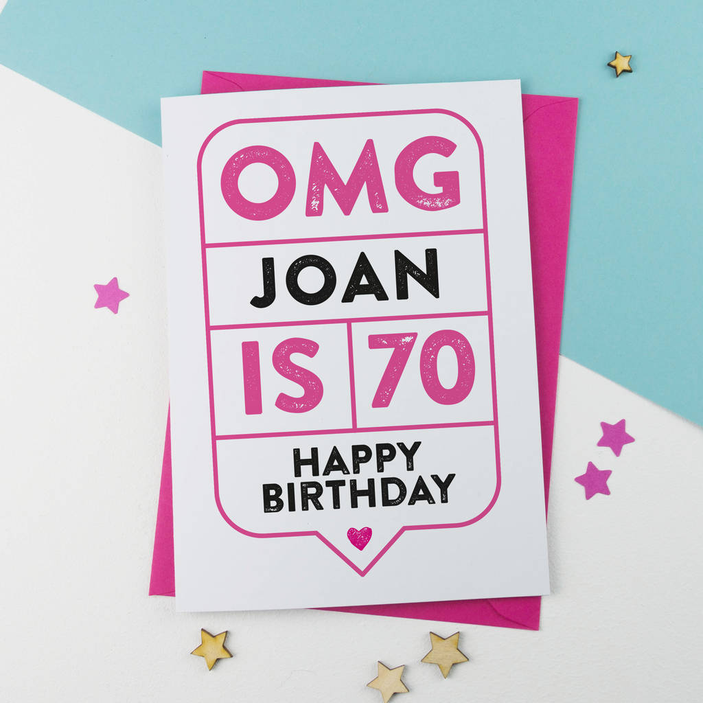 omg th birthday card personalised by a is for alphabet, Birthday card
