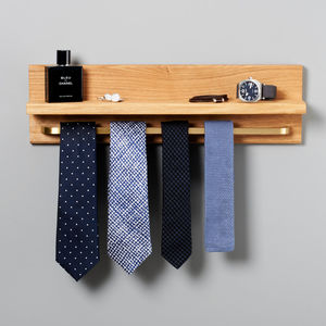 Oak Floating Shelf And Tie Rack - home accessories