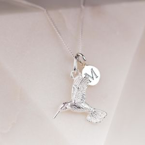Personalised Solid Silver Hummingbird Necklace