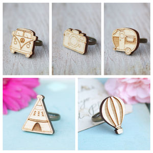 Wooden Travel Theme Rings - rings
