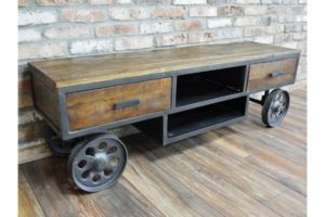 Industrial Steel Framed Media Unit - dressers & sideboards