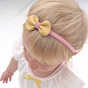 Leather Mini Bow Baby Toddler Headband Pink And Yellow - new in baby & child