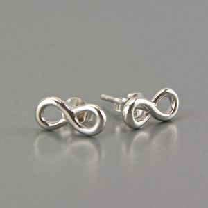 Dainty Sterling Silver Infinity Knot Stud Earrings - earrings