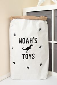 Personalised Dinosaur Pattern Paper Storage Bag - children's room