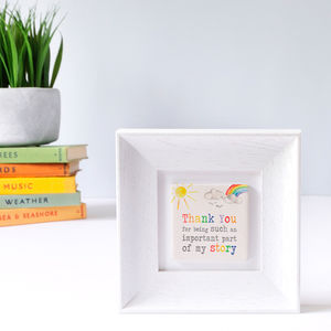 Framed Ceramic Thank You Tile Gift - mixed media & collage