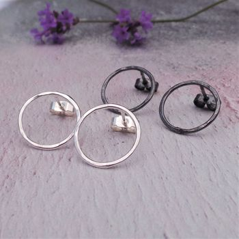 Circle Sterling Silver Hammered Stud Earrings