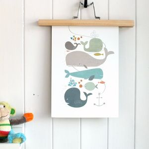 Happy Whales Nursery Art Print - children's pictures & paintings