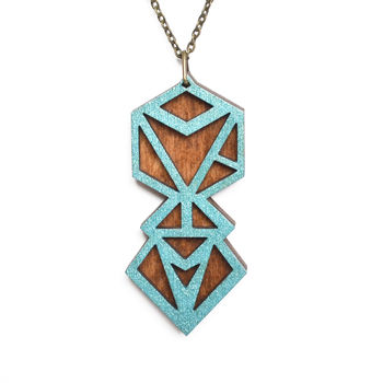 Contemporary Hexagon Geometric Pendant Necklace