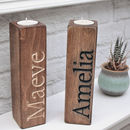 Wooden Carved Name Tealight Candle Holders
