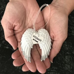 Personalised Angel Wings Hanging Decoration