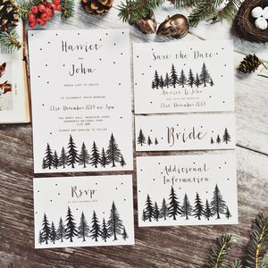 Nordic Winter Wedding Stationery - invitations
