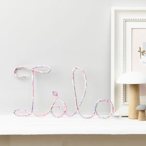 Personalised Liberty Fabric And Wire Name Sign - baby's room