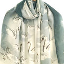 Swan Print Scarf With Gift Box And Card